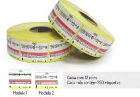Etiqueta de 3 linhas para plasma com indicador químico Tipo 1